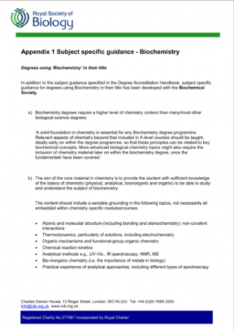 RSB-Subject Specific  guidance Biochem